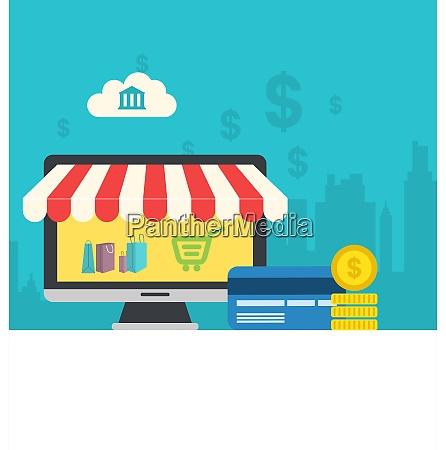 illustration concept of online shop flat