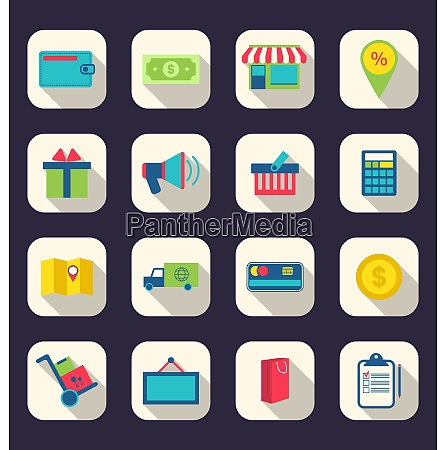 illustration flat icons of e commerce