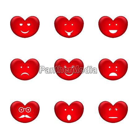 illustration set of smiles of heart