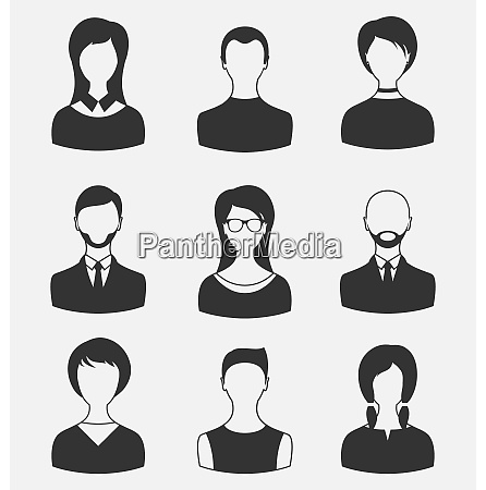 illustration set business people different male