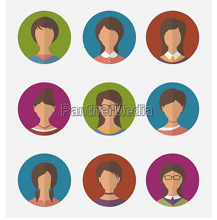 illustration set colorful female faces circle