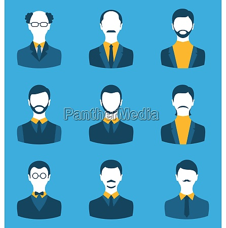 illustration set business people front portrait