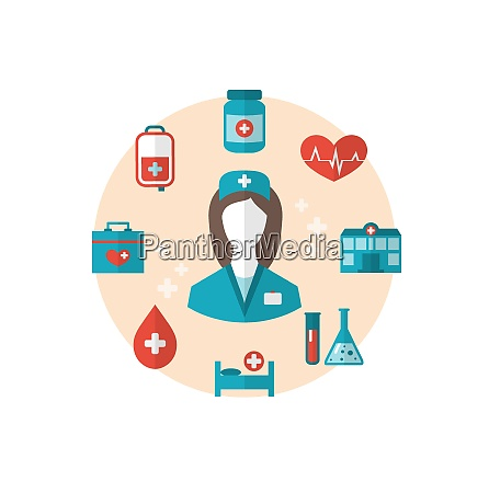 illustration nurse with medical icons for