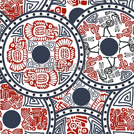 aztec seamless pattern with animals indian