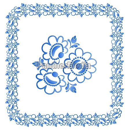 illustration decorative border with beautiful flowers