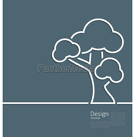 illustration tree standing alone symbol design