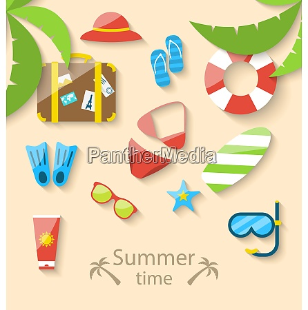 illustration summer vacation time with flat