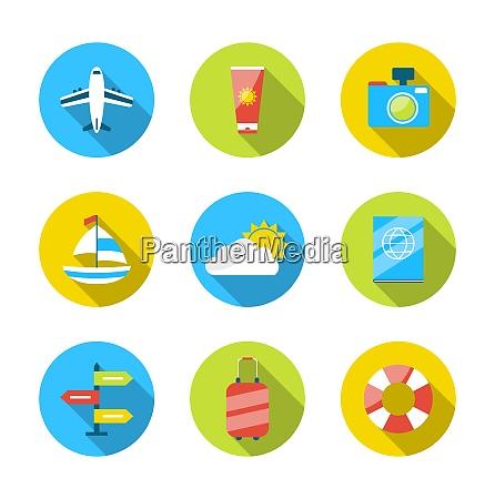 illustration flat modern set icons of