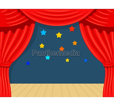 cartoon theater with star theater curtain