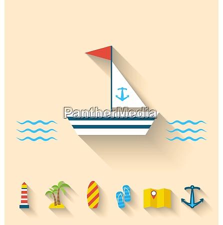 illustration flat set icons of cruise