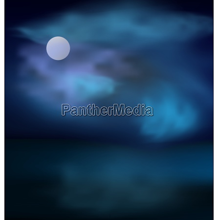 moon and clouds above the sea