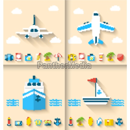 illustration set banners with flat icons