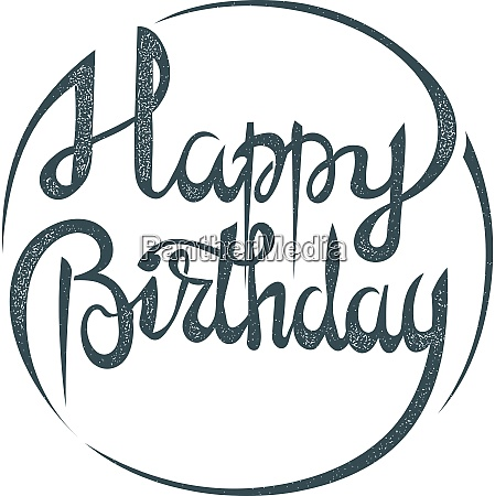 lettering phrase happy birthday on a