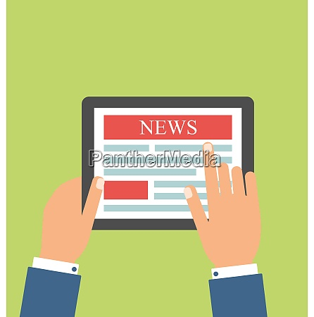 illustration businessman reading business news on