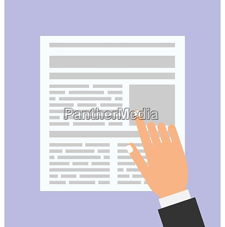 illustration businessman reading business newspaper simple
