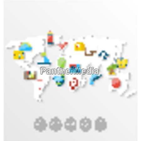illustration map of world travel concept