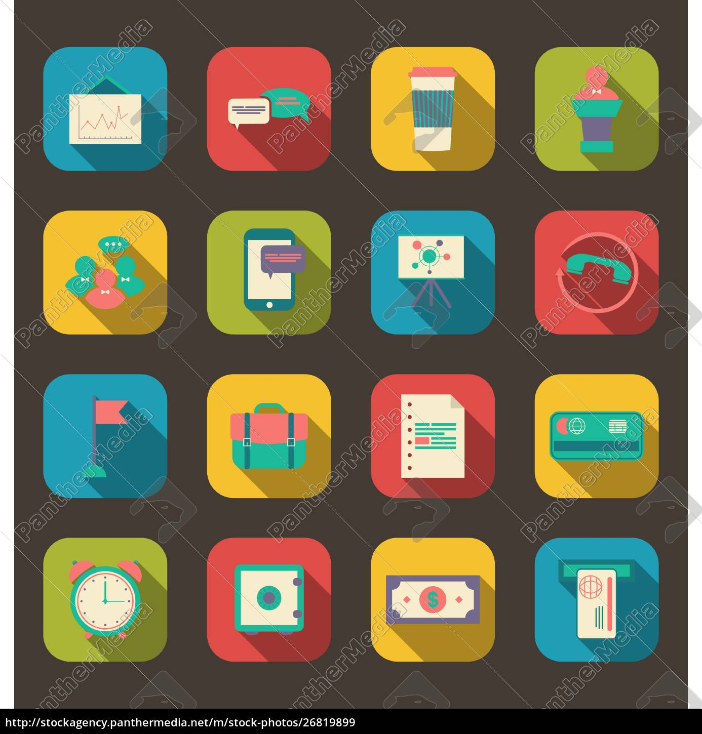 illustration, flat, icons, of, financial, service - 26819899