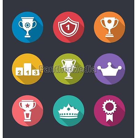 illustration award flat icons set of