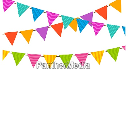 illustration set colorful buntings flags garlands