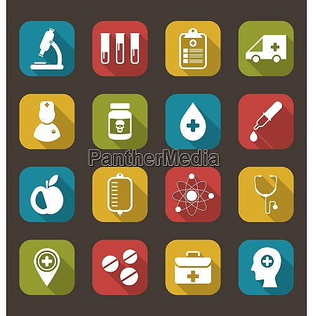 illustration collection trendy flat icons of