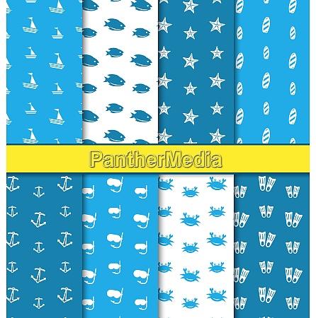 illustration set seamless pattern with nautical