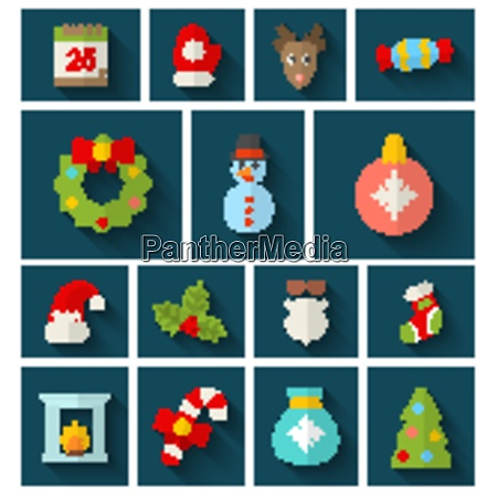 illustration christmas colorful objects and elements