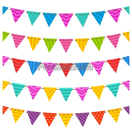 illustration group hanging bunting party flags