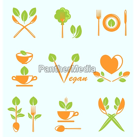 illustration collection of labels healthy eating