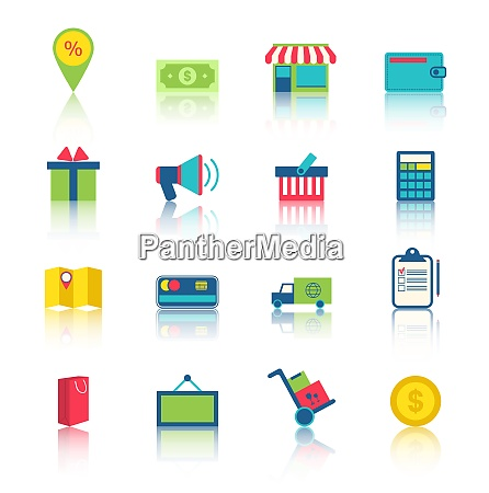 illustration colorful simple icons of e