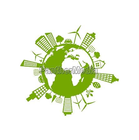 illustration green futuristic world concept environment