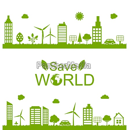 illustration concept green futuristic world green