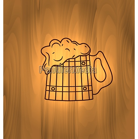 oktoberfest illustration mug beer with foam