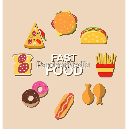 set fast food flat icons illustration