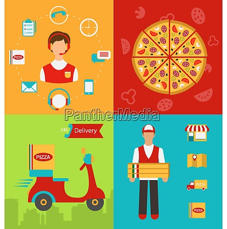 illustration set banners with pizza delivery