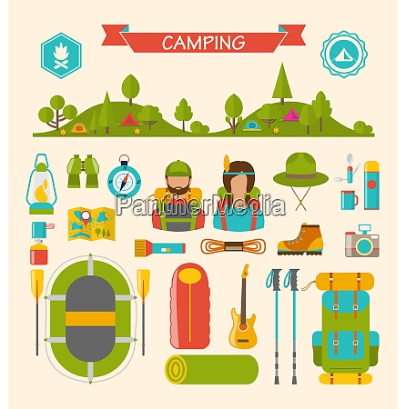 illustration set of camping and hiking