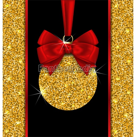 illustration glitter card with christmas ball