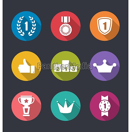 illustration flat icons collection of awards