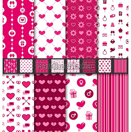set seamless backgrounds valentine day pattern