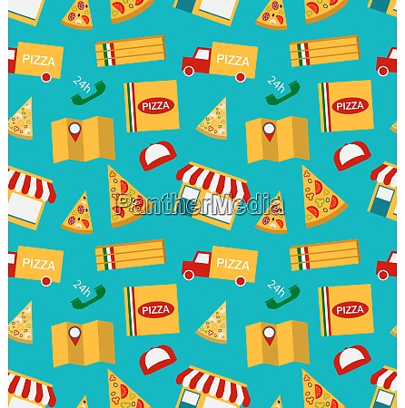 seamless pattern with slices of pizza