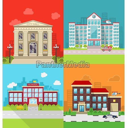 illustration set municipal buildings city