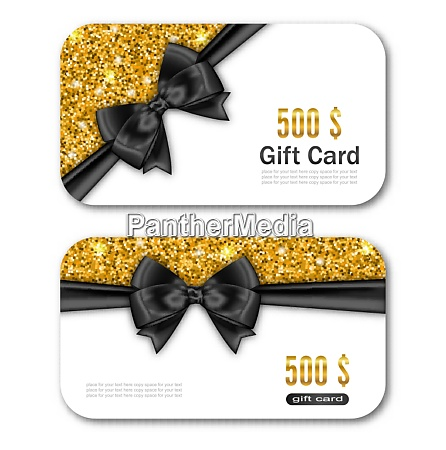 illustration gift card template with golden