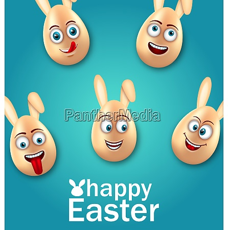 humor easter card with cheerful eggs