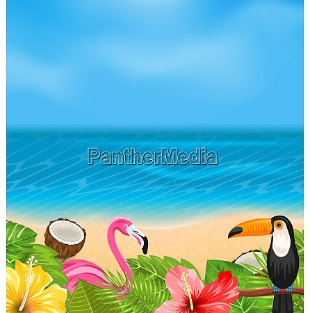 illustration exotic background with toucan pink