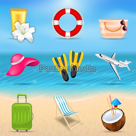 set realistic travel and tourism accessories