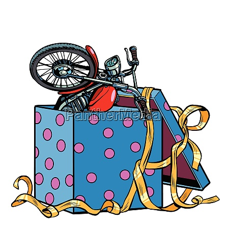 motorcycle bike in a gift box