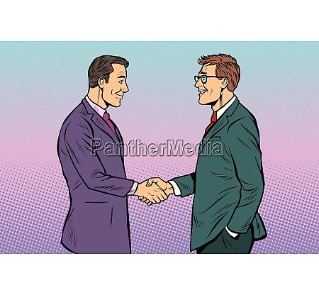 caucasian businessmen men handshake