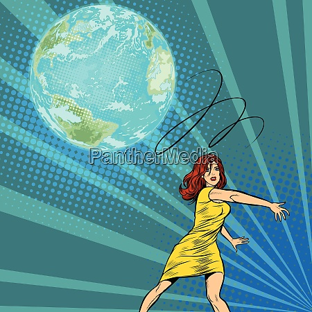 woman throws out planet earth