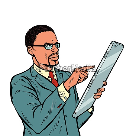 african businessman and smartphone with big