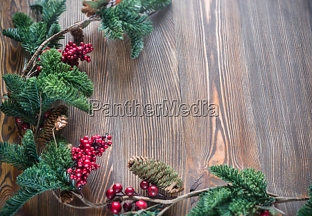 christmas decor on the wooden background