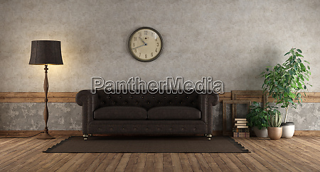 retro living room with leather sofa